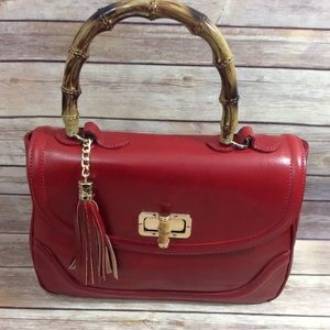 Handbags - Italian Red Bamboo Handle Handbag Host Pick! New